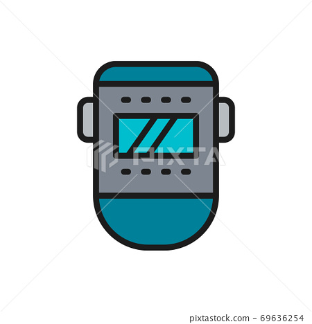 Vector welder mask, face protection flat color line icon. 69636254