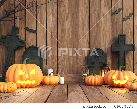 Halloween concept pumpkin on the old plank background 3d render 69638379