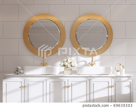 Classical style luxury white basin counter 3d render 69638383