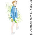 回望的女人,步行,綠色的插圖 69638708