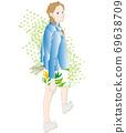 回望的女人,步行,陰影和綠色的插圖 69638709