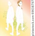 回望兩個女人,走路的插圖,漸變 69638797