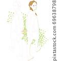 回望和行走的兩個女人的插圖 69638798
