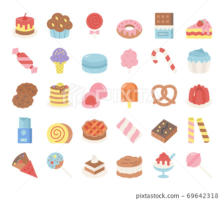 sweet and dessert flat vector icons 69642318