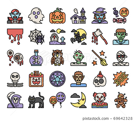 happy halloween color outline vector icons 69642328
