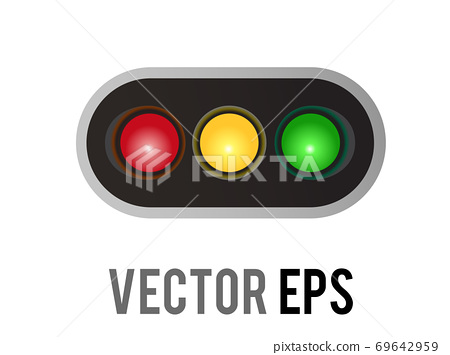 Vector horizontal left and right road traffic caution light signal icon 69642959