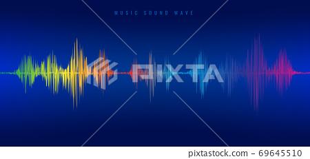 Rainbow music sound wave line equalizer on blue background. 69645510