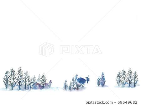 Illustration of snow scene drawn in watercolor 69649682