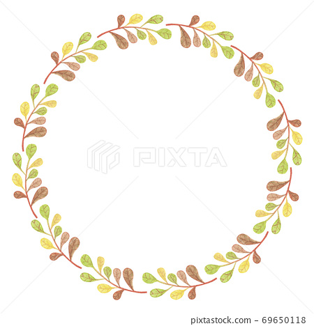 Autumn Frame Illustration - wreath of leaves 69650118