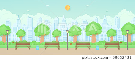 Wooden bench, street light and trash can in the garden with trees, bird on the branch, plant pots and flowers on grass, Cityscape, building background, paper art style 69652431
