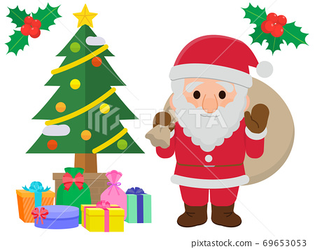 聖誕老人和聖誕樹圖 69653053