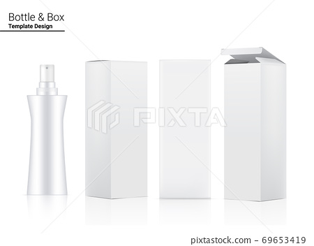 Glossy Pump Bottle Mock up Realistic Cosmetic and 3 Dimensional Box for Whitening Skincare and Aging anti-wrinkle merchandise on White Background Illustration. Health Care and Medical. 69653419