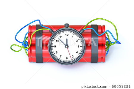 Dynamite with clock timer 3D 69655881