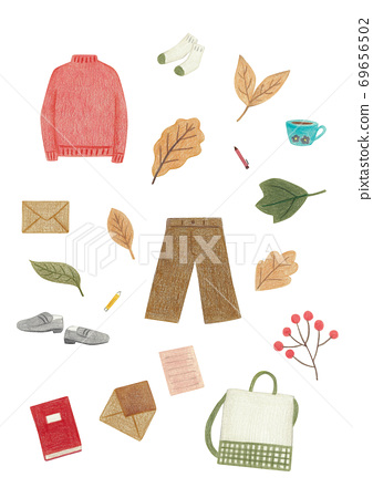 Autumn clothes and plants pattern 69656502