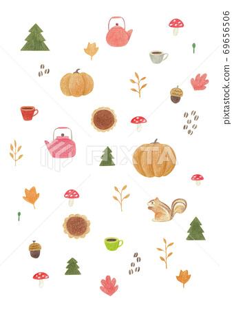 甜點和秋天的植物圖案 69656506