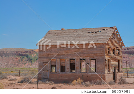 A rundown abandoned wood house in Tuba City Arizona on the Navajo reservation 69657995
