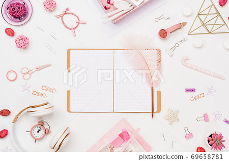 Creative flat lay young female student workspace 69658781