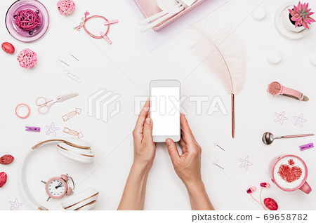Female workspace for mobile web design creation 69658782