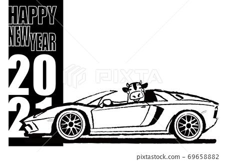 2021年新年賀卡模板牛和意大利跑車的著色風格 69658882