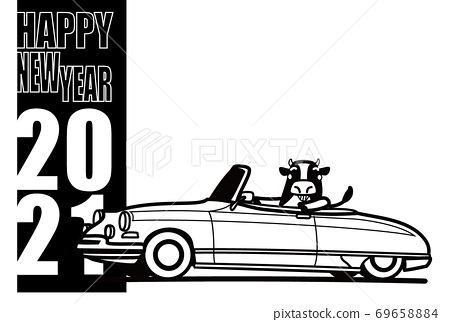 2021 New Year's card template cow and old French convertible coloring style 69658884