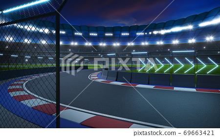 Night scene modern international race track 69663421