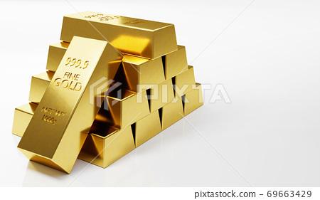 Gold bullion stack isolated on white background 69663429