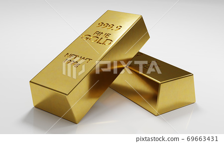 Two Gold bars isolated on white background. 69663431