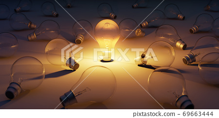 One glowing transparent light bulb standing out from the unlit bulbs. 69663444