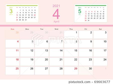 彩色日曆2021年4月 69663677