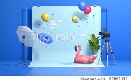 Colorful 3D rendering of a studio with equipment 001 69665452