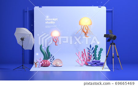 Colorful 3D rendering of a studio with equipment 006 69665469