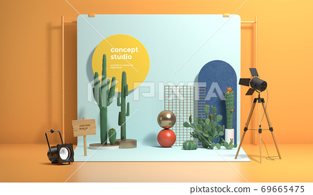 Colorful 3D rendering of a studio with equipment 008 69665475