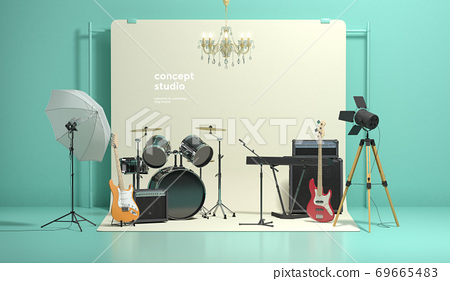 Colorful 3D rendering of a studio with equipment 010 69665483