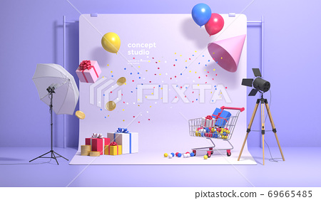 Colorful 3D rendering of a studio with equipment 003 69665485