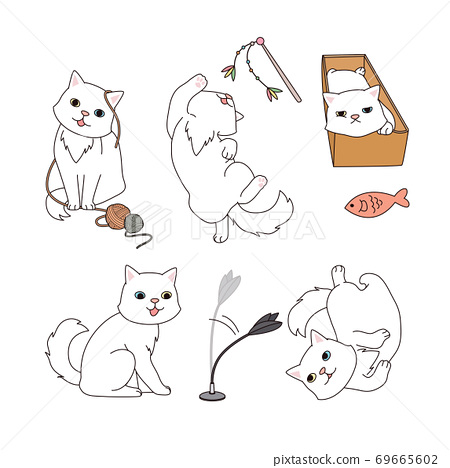 Set of simple cute animal emoticons with different emotions 007 69665602