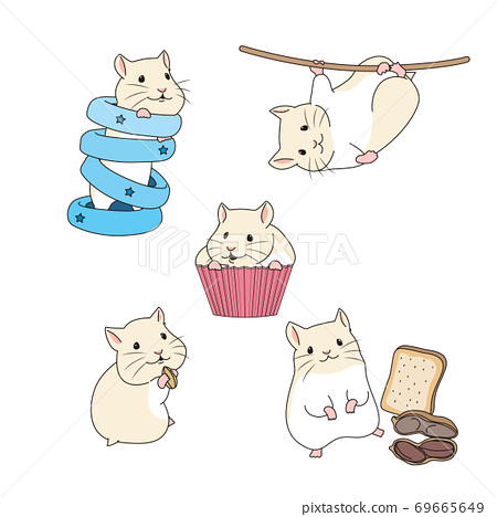 Set of simple cute animal emoticons with different emotions 009 69665649