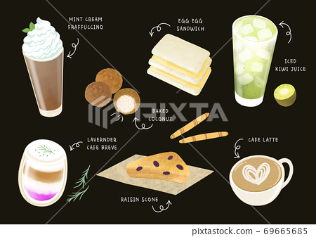 Coffee and dessert menu design illustration 003 69665685