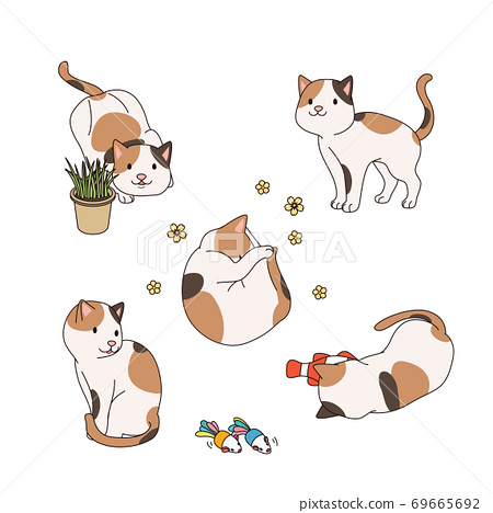 Set of simple cute animal emoticons with different emotions 006 69665692