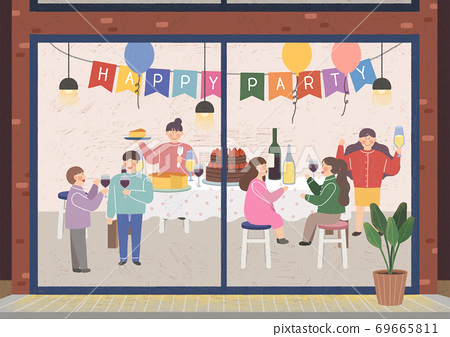 People in the interior concept in flat style illustration 004 69665811