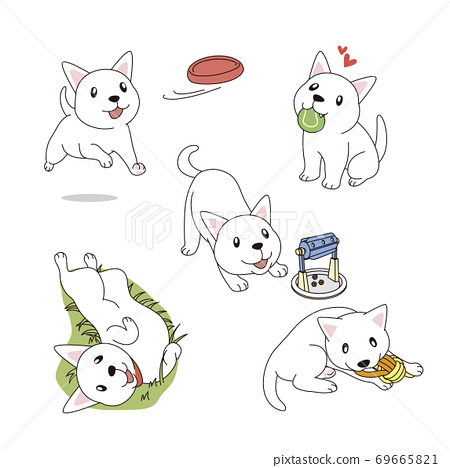 Set of simple cute animal emoticons with different emotions 002 69665821