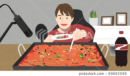 Food eating show, online vloggers eating large quantities of food illustration 003 69665898