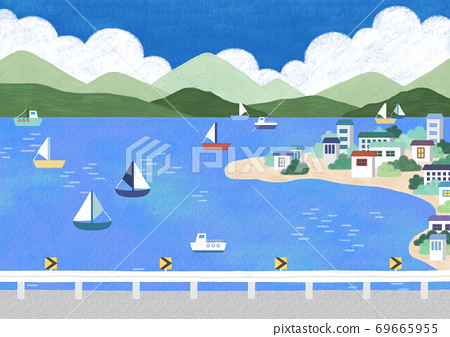 Beautiful summer landscape illustration 005 69665955