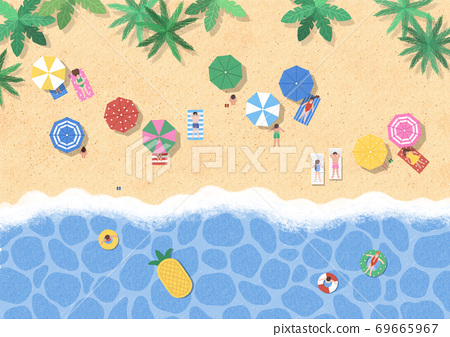 Beautiful summer landscape illustration 001 69665967