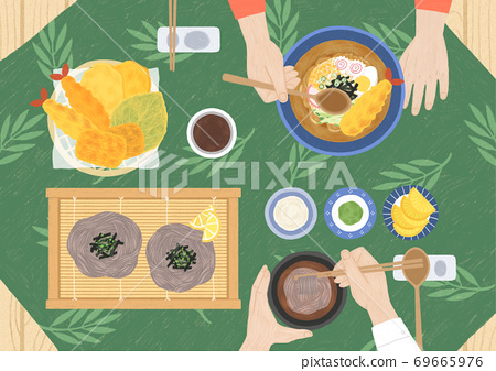 Delicious asian cuisine in flat design top view illustration 008 69665976