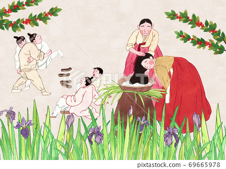 Concept of Korean traditional color prints illustration 001 69665978