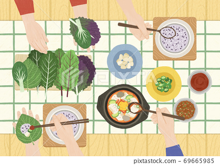 Delicious asian cuisine in flat design top view illustration 004 69665985