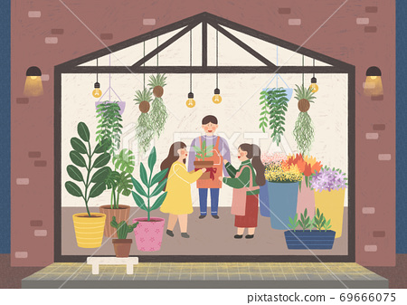 People in the interior concept in flat style illustration 009 69666075