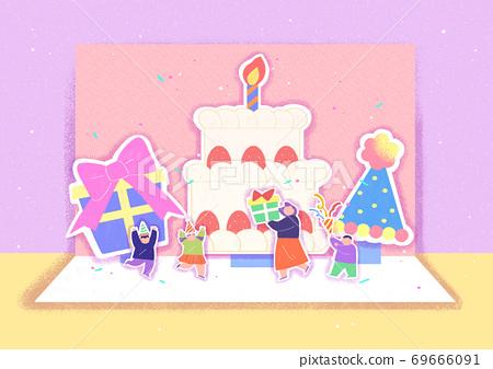 Cheerful invitation card design illustration 002 69666091