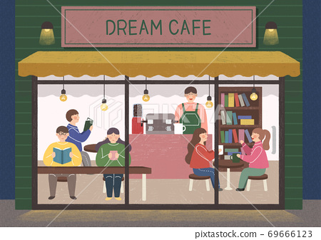 People in the interior concept in flat style illustration 002 69666123