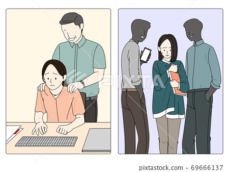 Sexual assault prevention concept in flat illustration 007 69666137